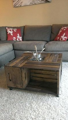 Apple Crate coffee table made to order on Etsy, $150.00 my sister Carrie custom makes theses tables she is amazing!