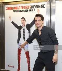 Brendon Urie unveils His Subway Billboards For Broadway's 'Kinky Boots' at the 42nd Street Times Square Subway Station on July 20, 2017 in New York City.