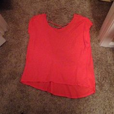 Selling this Coral crop top with crochet back on Poshmark! My username is: bmstewart11. #shopmycloset #poshmark #fashion #shopping #style #forsale #Charlotte Russe #Tops
