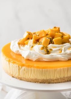 No Bake Mango Cheesecake with a mouse-like creamy filling and, mango jelly topping. Loaded with THREE WHOLE MANGOES!