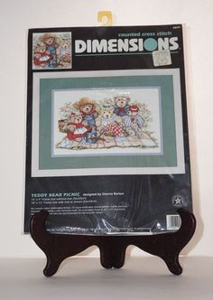 """Dimensions NEW Teddy Bear Picnic Family 14""""x9"""" Picture Counted Cross Stitch Kit #Dimensions #Picture"""