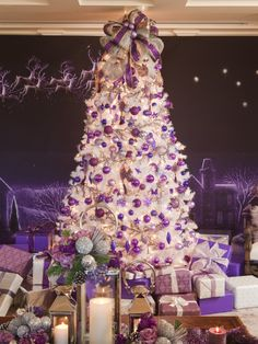 """Alison Sweeny ~ HGTV designer Sandra Espinet decked out the """"Days of our Lives"""" star's Hollywood Hills home with a white tree and icy purple ornaments. A centerpiece adorned with pinecones and greenery adds a natural element to Alison's vivid space."""
