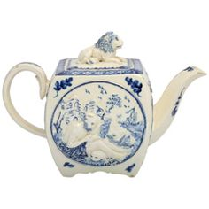 "A Rare Creamware Teapot Molded With  ""Saint Anthony"""