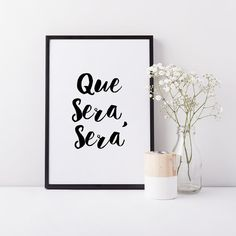 Home Decor Prints, Black and White Art, 'Que Sera Sera' Whimsical Prints (frame…