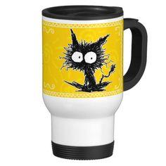 GabiGabi Travel Mug ! 8) #cat #TravelMug #mug #yellow #kitten #Commuter #Zazzle