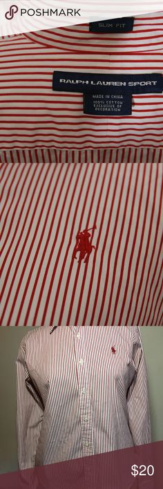 WMNS Ralph Lauren Dress Shirt Add a touch of class to your outfit and get compliments all day with this gorgeous Ralph Lauren red and white stipe shirt. This shirt is basically like new, only that the tags were taken off. Purchase with the assurance that you will be buying a great item. I offer a 100% satisfaction guarantee policy on all my items so buy with confidence. Ralph Lauren Tops Button Down Shirts
