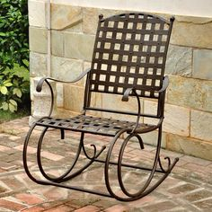 Alcott Hill Schilling Nailhead Iron Patio Rocking Chair Finish: Matte Brown