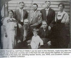 My grandmother Mary Jane Hatfield, Simpkins, Hensley, Howes, far left -6th child of Capt.Wm.Anderson (devil anse) Hatfield.  Nancy Belle Hatfield, Vance, Mullens on far right.  Wm.Anderson (devil anse) and Levicy Hatfield seated.  3 of their sons standing center.