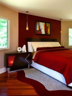 Modern bedroom design should be planned well. It relates to mattress, furniture, accessories, lighting, etc. Here are some best design ideas for your modern style bedroom. Red Master Bedroom, Red Bedroom Walls, Red Bedroom Design, Red Bedroom Decor, Bedroom Wall Colors, Couple Bedroom, Bedroom Color Schemes, Interior Design, Bedroom Designs
