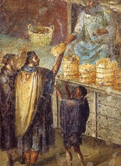 Sale of bread at a market stall. Roman fresco from the Praedia of Julia Felix in Pompeii. Museo Archeologico Nazionale (Naples)