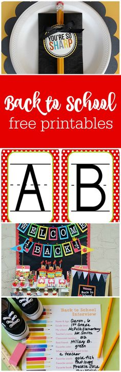 Free printables for back to school curated by The Party Teacher   http://thepartyteacher.com/2013/07/26/freebie-friday-back-to-school-free-printables/