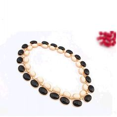 Oval-shaped Artificial Gem Embellished Necklace Beige&Black YW14072902-2.http://www.clothing-dropship.com
