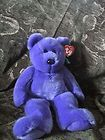 "For Sale - K3 Cute TY Original Beanie Buddies PURPLE 13"" EMPLOYEE Teddy BEAR Stuffed Plush"