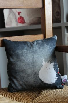 White pet mini square cushion original printed illustration on cotton fabric. For big kids! Creation Homes, Fabric Garland, Watercolor Canvas, Lampshades, Big Kids, Cotton Fabric, Cushions, Throw Pillows, The Originals