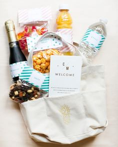 Courtney and Michael gave their guests welcome totes that held sweet and salty snacks, refreshments, and a trifold map of local sights in St. Louis.