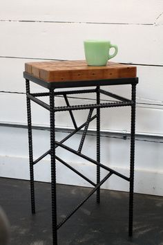 Small Rebar and Salvaged Wood Side Table