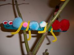 Spring Caterpillar  Items:  Popsickle Stick,  PomPoms,  Pipe Cleaner,  Googly Eyes,  Glue.  Directions:  1) Exercise fine motor skills by squeezing dots of glue on popsickle stick  2)Place pom poms across popsickle stick.    3)Place pipe cleaners along popsickle stick for legs  4)Stick two googly eyes at the top of the popsickle stick  5)Make sure to draw a smiley face under googly eyes  This project was made by a child in the Preschool Program at The Learning Tree