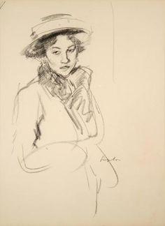 Girl with Head Tilted by Samuel John Peploe (Scottish 1871-1935)