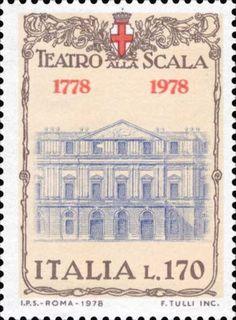 Stamp celebrating the bicentennial of La Scala's inauguration.