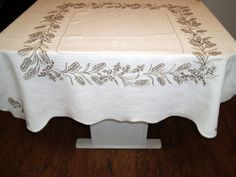 Vintage Embroidery Tablecloth Natural by BridenetVintageLinen, $12.00