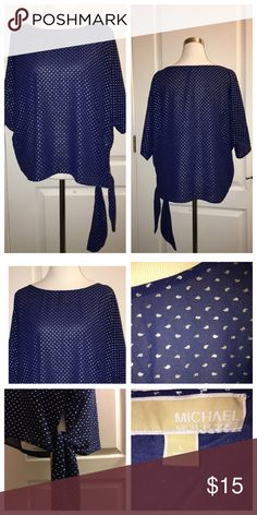 "MICHAEL KORS BLOUSE Navy Polyester with silver ""drops."" NWOT 28"" across & 23"" top back to hem when laying flat. MICHAEL Michael Kors Tops Blouses"