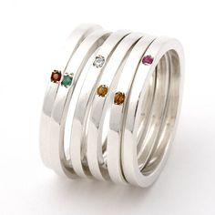 Skinny Silver Gemstone Ring
