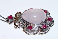 Genuine Brazilian rose quartz and Thai ruby by RetroRecyclables, $62.00
