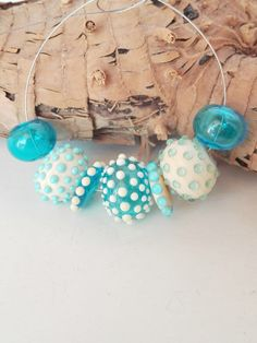 Lampwork, Beads Hollow glass beads set, by GhirigoriGlass for Necklace, Bracelet, Colors ivory, turquoise and aquamarine,  with dots. by GhirigoriGlass on Etsy https://www.etsy.com/listing/247932989/lampwork-beads-hollow-glass-beads-set-by