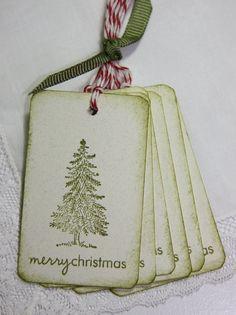 Stamped Christmas Tree Christmas Gift Tags