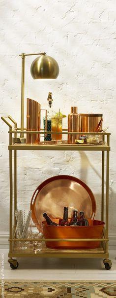 Swanky Brass Bar Cart via Jonathan Adler | cynthia reccord