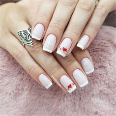 Nail art Christmas - the festive spirit on the nails. Over 70 creative ideas and tutorials - My Nails French Nails, Nagellack Design, Red Nail Art, Blue Nail, Heart Nails, Green Nails, Manicure And Pedicure, Toe Nails, Pretty Nails