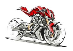 RC51 engined naked concept sketch by Nicolas Petit