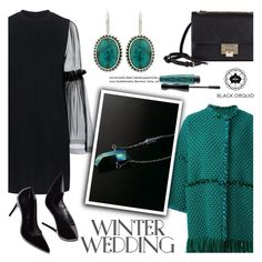 """""""True Romance: Winter Wedding"""" by helenevlacho ❤ liked on Polyvore featuring Mother of Pearl, Gianluca Capannolo, Jimmy Choo, MAC Cosmetics, contestentry, winterwedding and blackorquid"""
