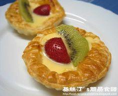 Fruit Custard Tarts. Would make a great treat in single size tarts.