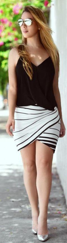 Hot Miami Styles Black And White Striped Drape Wrap Mini Skirt by Chic Fashion World