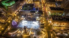 Photographer Matt Bain used a drone to capture this photo following the lighting of the Clinton Square Christmas tree on Nov. 25, 2016.