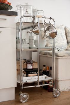 vintage metal bar cart, via decor8