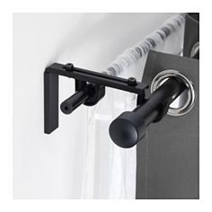 IKEA - BETYDLIG, Curtain rod holder, black,  , , You can mount it in BETYDLIG wall/celling bracket to create a bracket for double rod.2 anti-slip liners - the thick liner fits RÄCKA curtain rod and the thin liner HUGAD curtain rod.$2