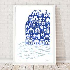 Santorini Screen Print Edition of 45 Santorini Blue A2 size