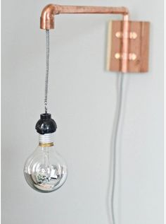 copper wire light sconce diy