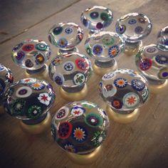 Pretty millefiori glass cabinet knobs www.merlinglass.co.uk
