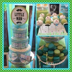 Little man mustache baby shower party diaper cake! See more party planning ideas at CatchMyParty.com!