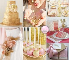 Pink and Gold wedding board. Love this.