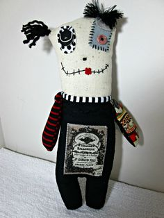 Monster Rag Doll Folk Art Doll OOAK Stuffed by Treasuresnwhimsy