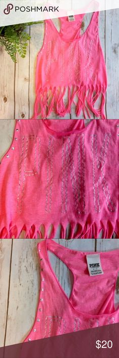 VS Pink Neon Studded Fringe Crop Top Perfect for summer weather and festivals ☀️ Light neon pink color, silver holographic writing, silver studs (all in tact), and a fringe hem. PINK Victoria's Secret Tops Crop Tops