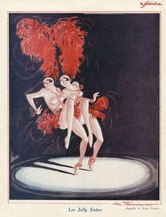 Les Jolly Sisters, 1927 illustration from the risque French magazine Le Sourire, dancing in the spotlight on stage