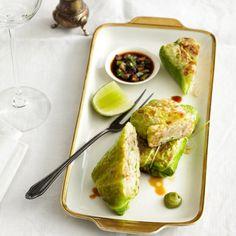 Spitzkohlrouladen+mit+Garnelen+und+Wasabi