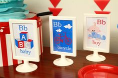 Cute signs at a Bike Baby Shower. Alphabet Birthday Parties, Alphabet Party, 2nd Birthday Parties, Shower Party, Baby Shower Parties, Baby Showers, Baby Shower Gender Reveal, Baby Boy Shower, Bicycle Party