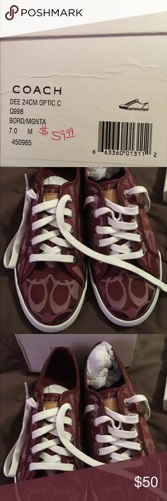 Coach NWT burgundy tennis shoes size 7 Coach NWT burgundy tennis shoes size 7.  Perfect condition! Coach Shoes Sneakers