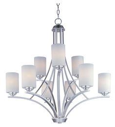 Maxim Lighting Deven 9 Light Multi-Tier Chandelier in Satin Nickel 20036SWSN #lightingnewyork #lny #lighting